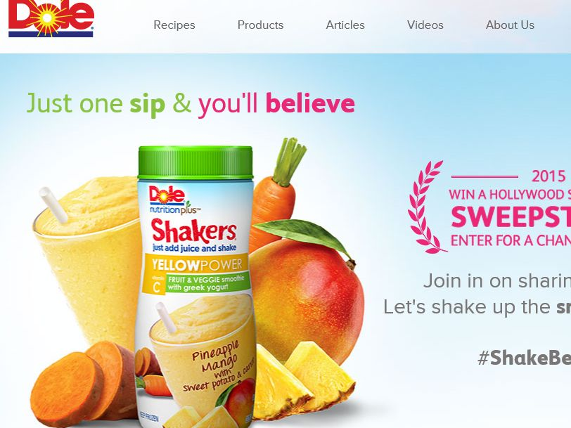 "The Dole ""Win a Hollywood Shake-ation"" Sweepstakes"