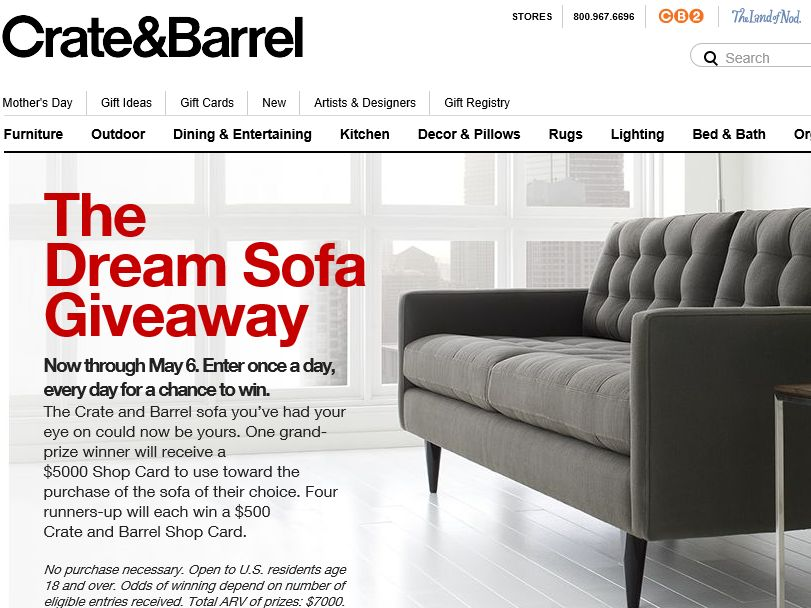 The Crate and Barrel Dream Sofa Giveaway