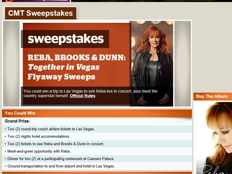 "The ""Reba, Brooks & Dunn: Together in Vegas Flyaway"" Sweepstakes"