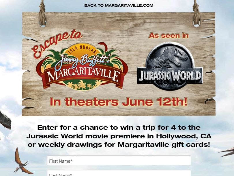 "The Margaritaville ""Escape to Isla Nublar Jurassic World"" Sweepstakes"