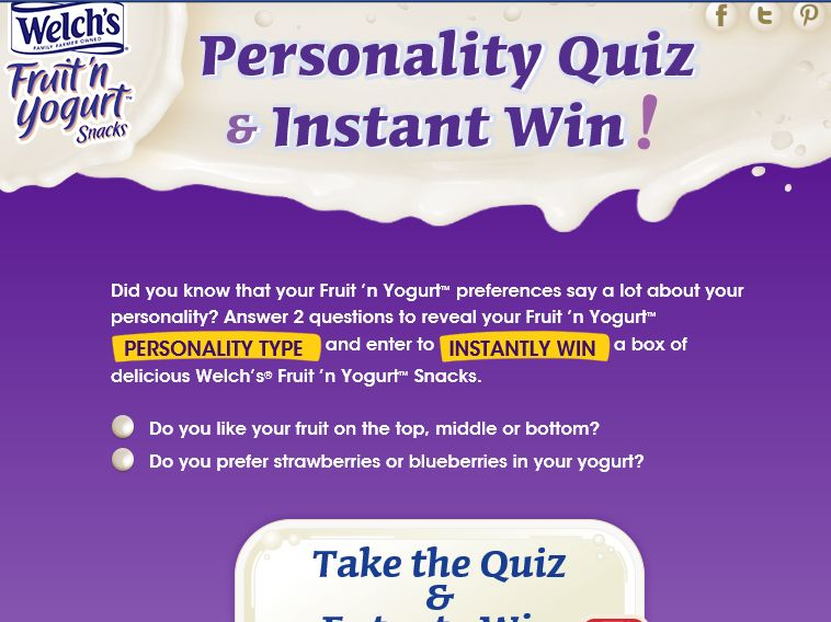 Welch's Fruit 'n Yogurt Snacks Personality Quiz & Instant Win Game