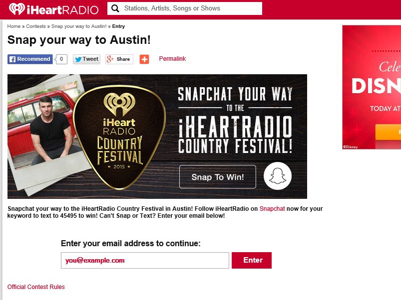 Snap your way to the iHeartRadio Country Festival Sweepstakes