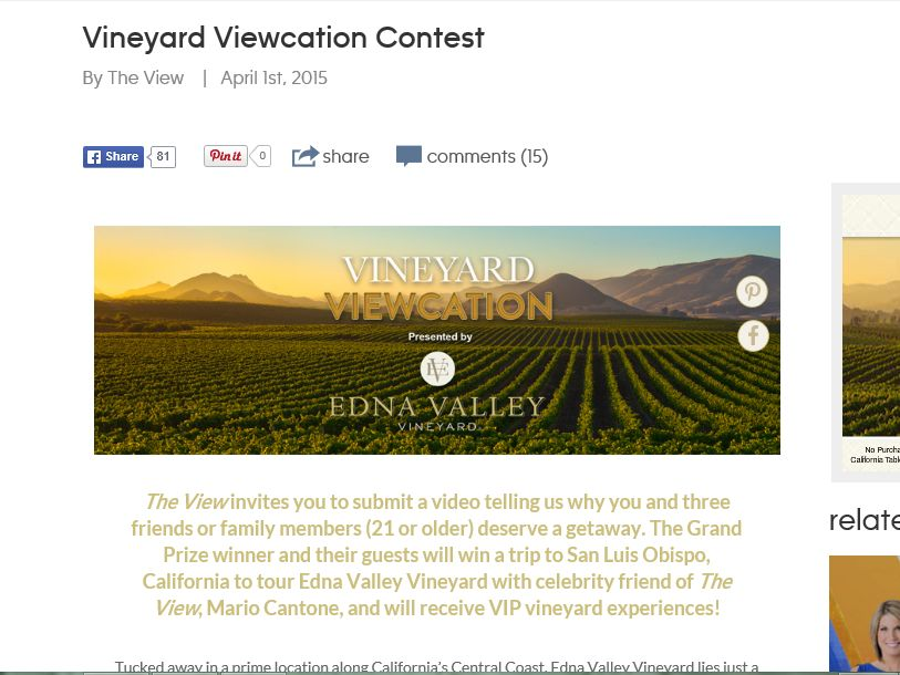 The View's Vineyard Viewcation Contest