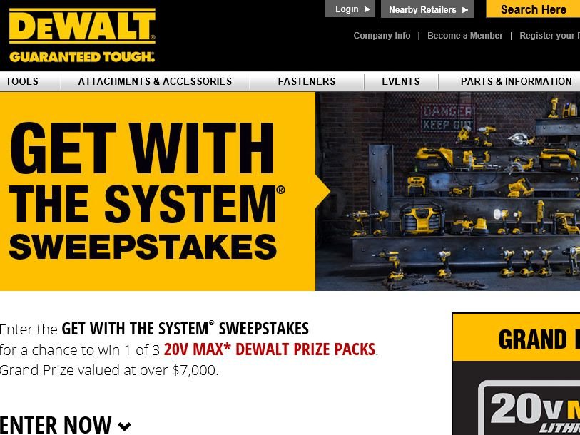 DEWALT Get with the System Sweepstakes
