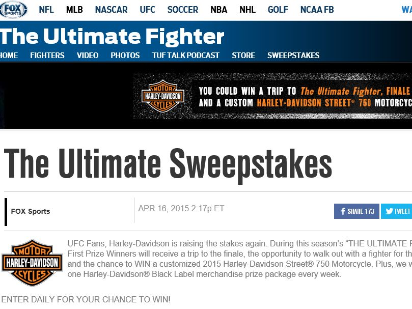 The Ultimate Fighter Ultimate Sweepstakes