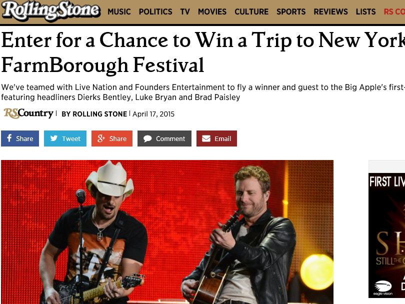 "The Rolling Stone ""FarmBorough Festival"" Sweepstakes"