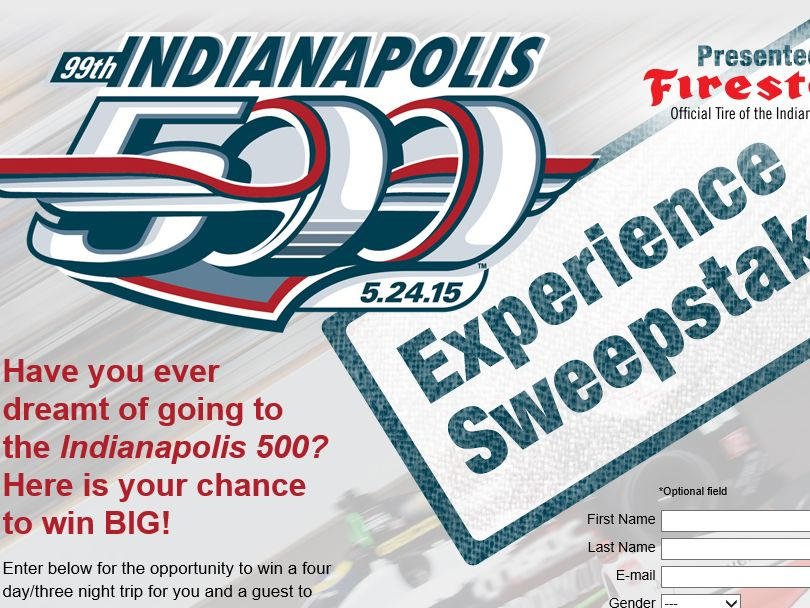The Firestone Indy 500 Experience Sweepstakes
