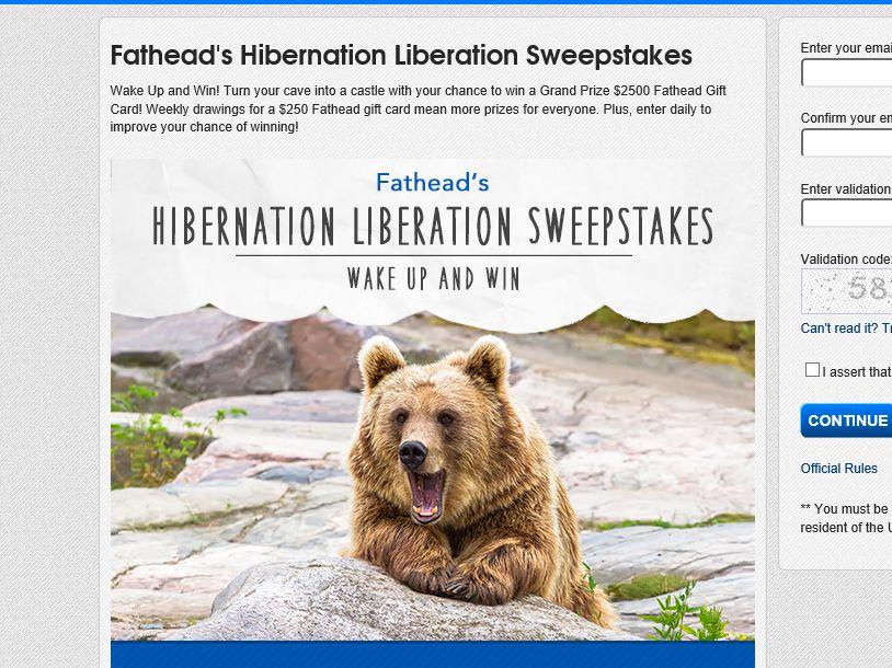 Fathead's Hibernation Liberation Sweepstakes