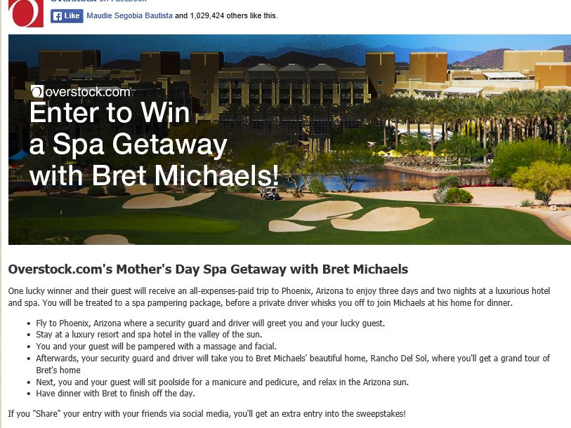 """Overstock.com """"Mother's Day Spa Getaway with Bret Michaels"""" Sweepstakes"""