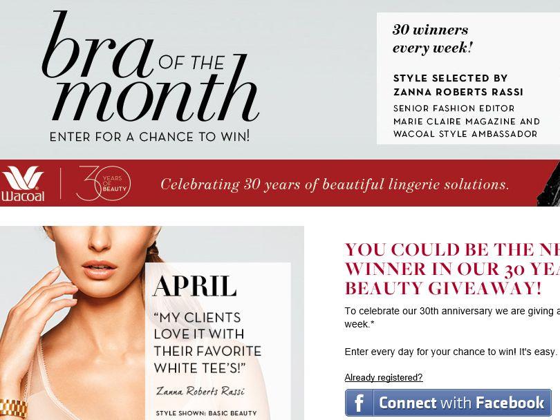 Wacoal 30 Years of Beauty Giveaway Sweepstakes