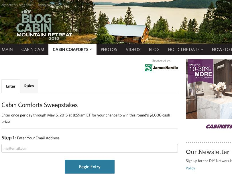 The DIY Network Cabin Comforts Sweepstakes