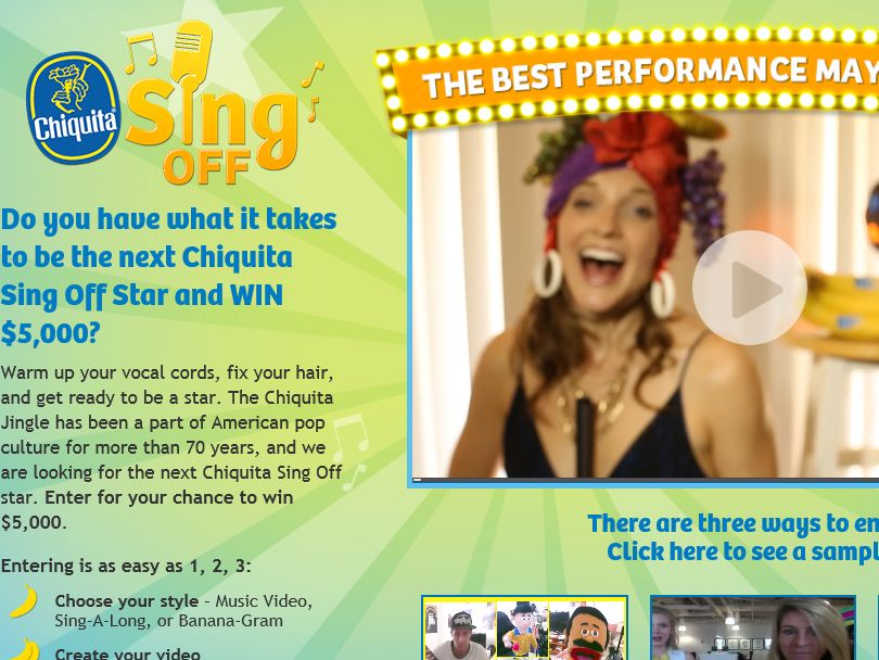 """The Chiquita """"Sing Off Sing-A-Long"""" Contest"""