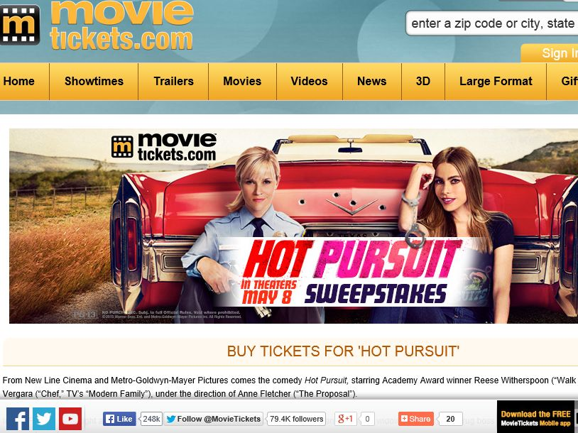 "MovieTickets.com's ""Hot Pursuit"" Sweepstakes"