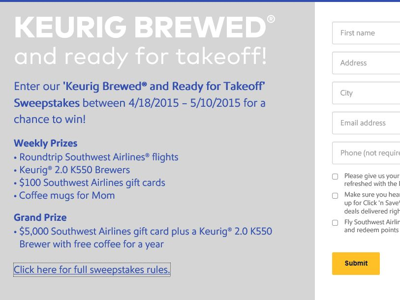 Keurig Brewed and Ready for Takeoff Sweepstakes