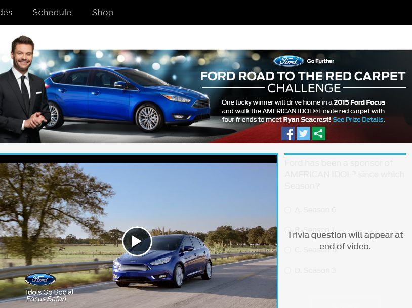 The Ford and FOX Road to the Red Carpet Challenge Sweepstakes