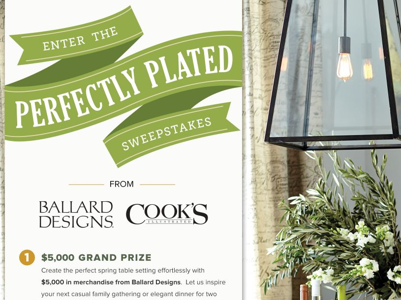 The Cooks Illustrated Perfectly Plated Sweepstakes
