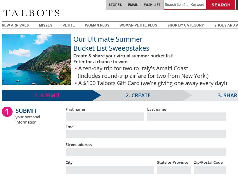 "The Talbots ""Ultimate Summer Bucket List"" Sweepstakes"