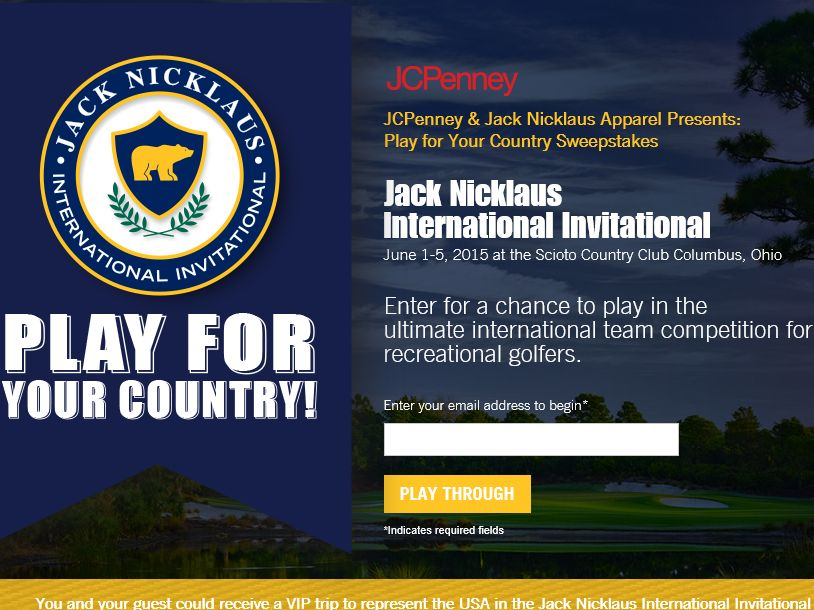 The JCPenney and Jack Nicklaus Apparel Play For Your Country Sweepstakes
