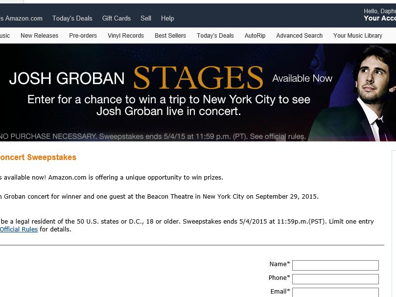 Amazon.com Josh Groban Concert Sweepstakes