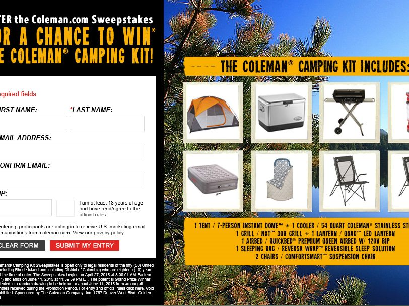 "The ""Coleman Camping Kit"" Sweepstakes"