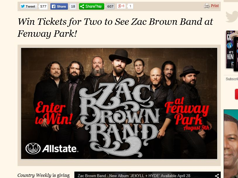 "Country Weekly's ""ZAC BROWN FLYAWAY GIVEAWAY"" Sweepstakes"