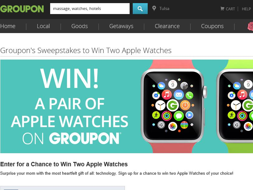 Groupon's Two Apple Watches Sweepstakes