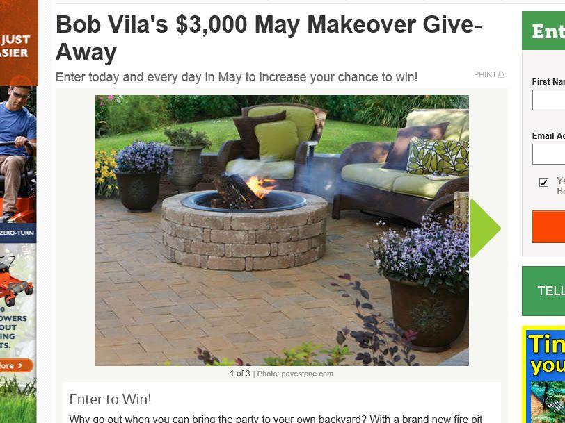 """Bob Vila's """"$3,000 May Makeover Give-Away"""" Sweepstakes"""