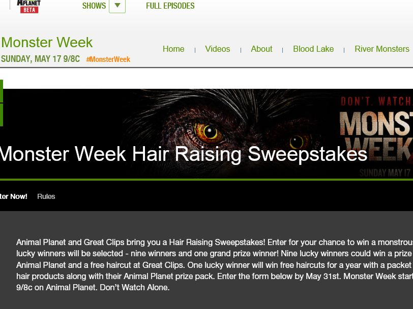 Animal Planet's Hair-Raising Sweepstakes