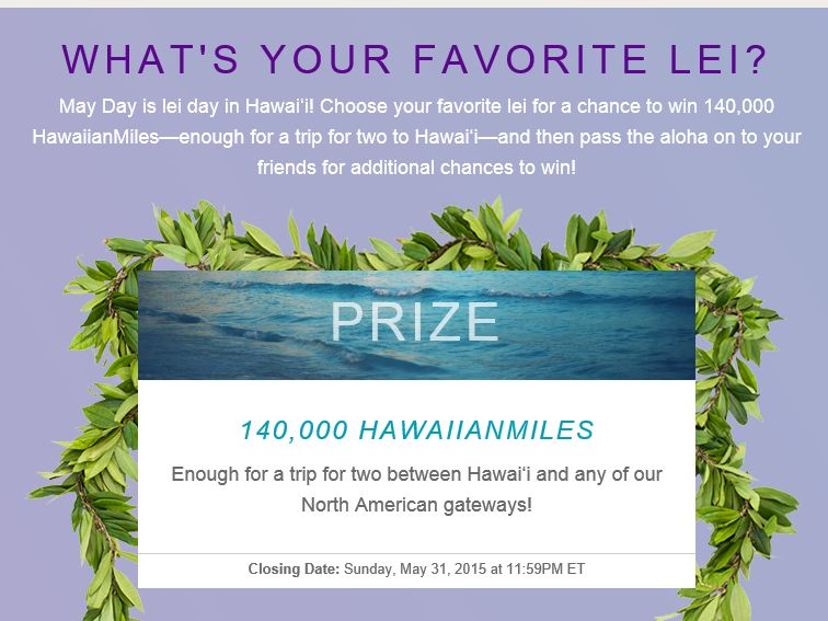 Hawaiian Airlines Pick a Lei Sweepstakes