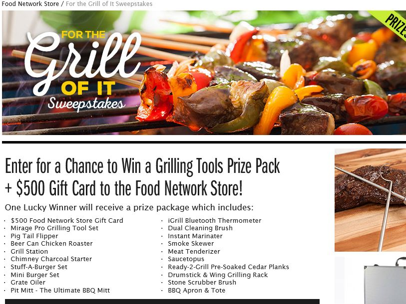 The Food Network Store For the Grill of It Sweepstakes