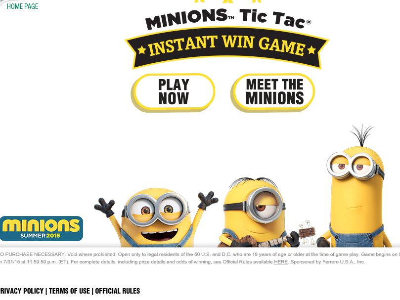 The Minions Tic Tac Instant Win Game