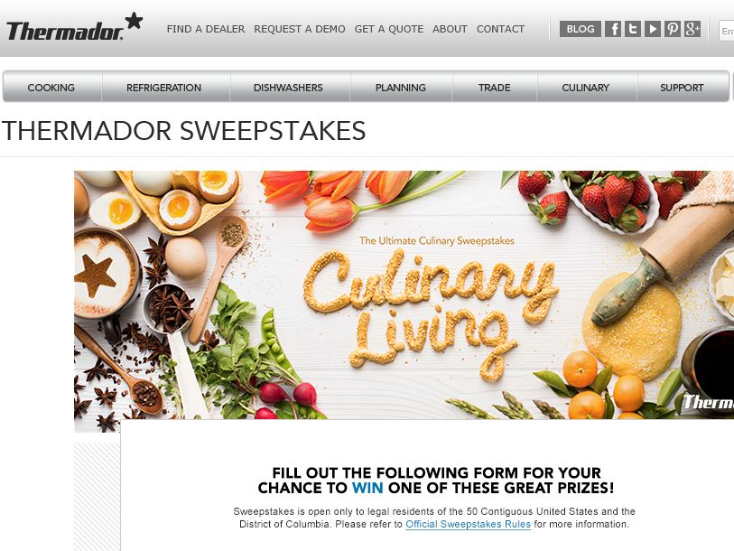 """The Thermador """"Culinary Living – Star of the Kitchen"""" Sweepstakes"""