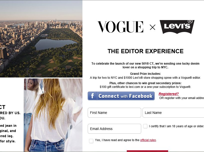 Vogue x Levi's: The Editor Experience Sweepstakes