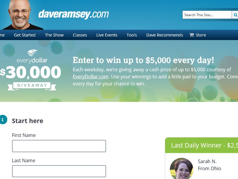 "The Dave Ramsey ""EveryDollar $30,000 Giveaway"" Sweepstakes"