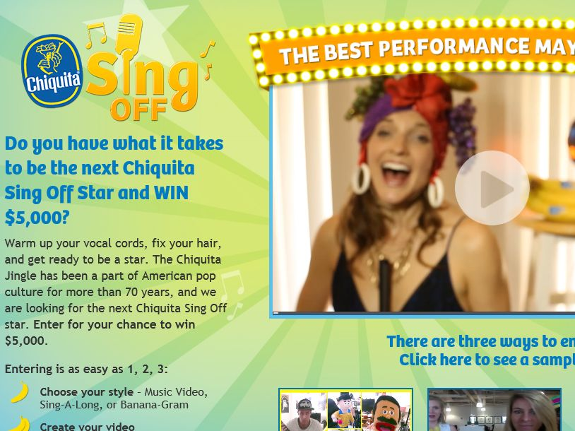 """The Chiquita """"Sing Off Banana-Gram"""" Sweepstakes"""