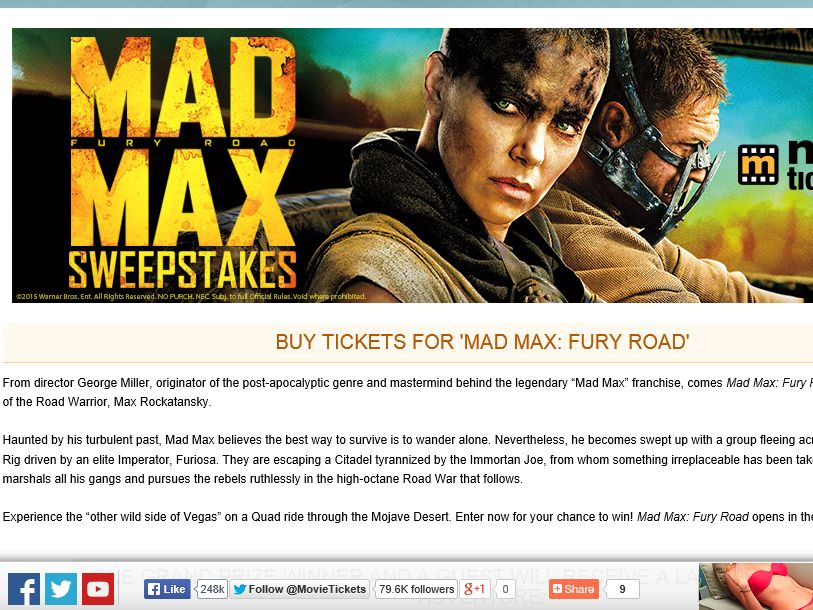 "MovieTickets.com's ""Max Max: Fury Road"" Sweepstakes"