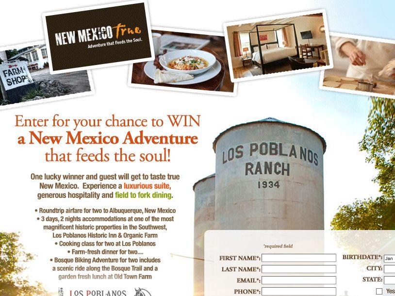 New Mexico Tourism Taste New Mexico True Sweepstakes