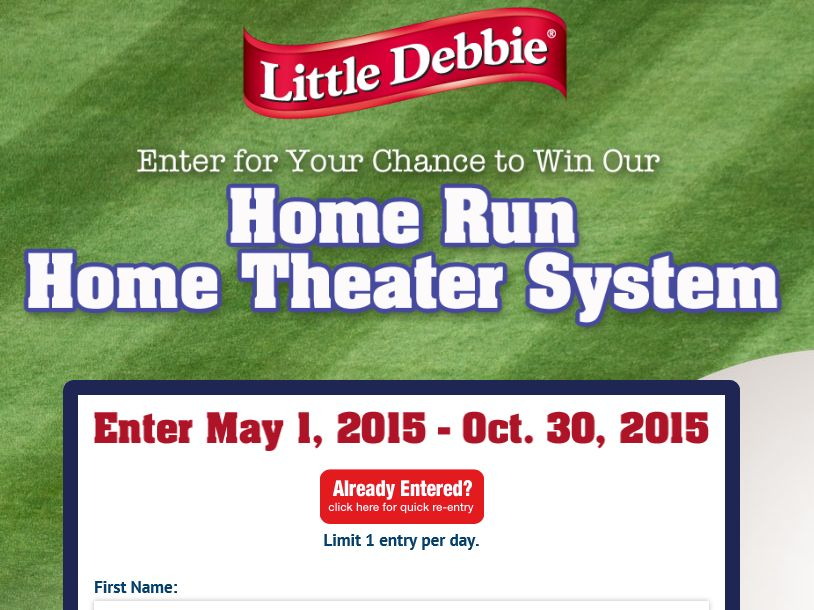 Little Debbie Home Run Home Theater System Giveaway Sweepstakes