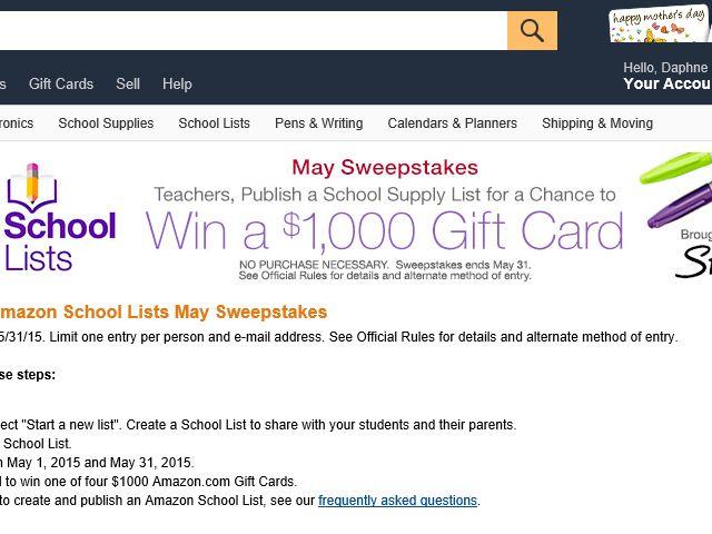 The Amazon School Lists May Sweepstakes