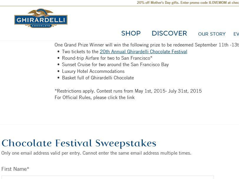 Ghirardelli Chocolate San Francisco Getaway Sweepstakes