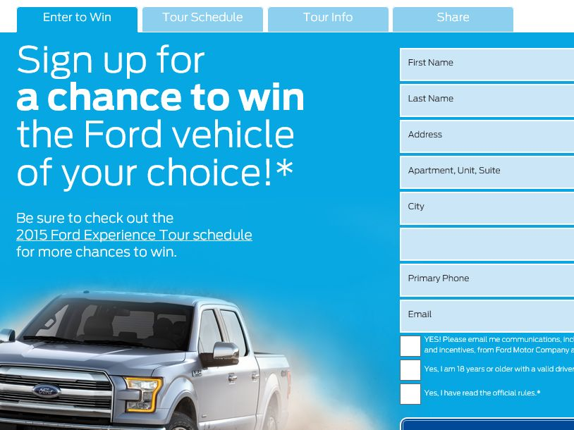 The 2015 Ford Vehicle Sweepstakes