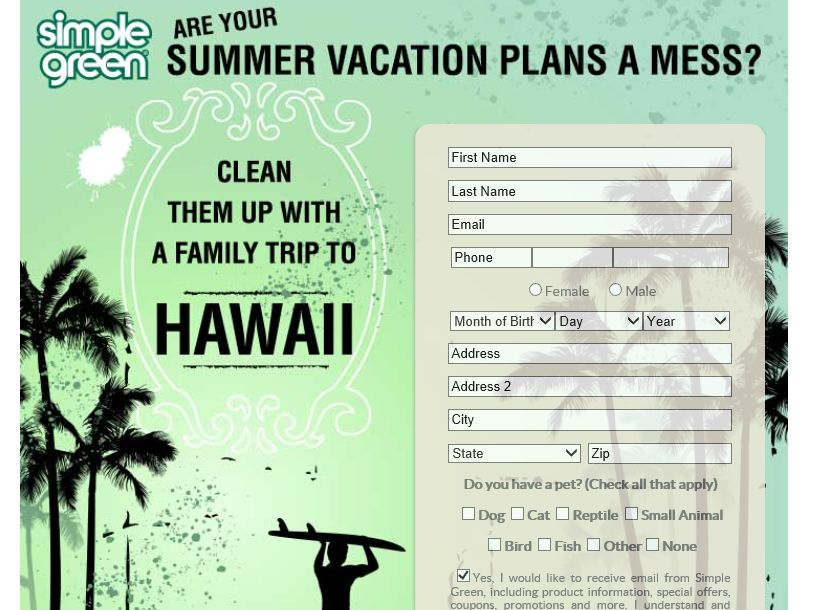 Simple Green's Clean Up Your Summer Vacation Plans Sweepstakes