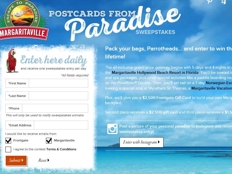 Frontgate Margaritaville Sweepstakes