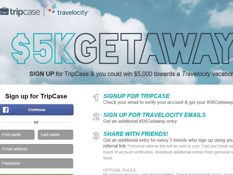 TRIPCASE $5K Getaway Sweepstakes