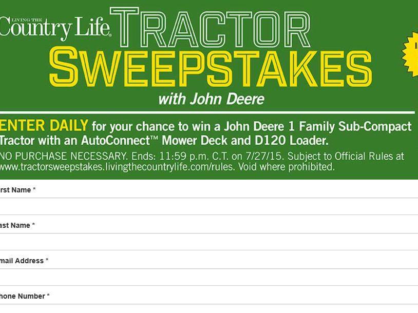 The John Deere Tractor Sweepstakes