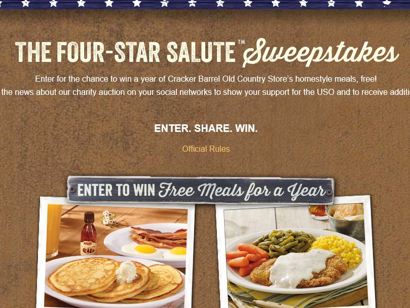 The Cracker Barrel Old Country Store Four-Star Salute Sweepstakes