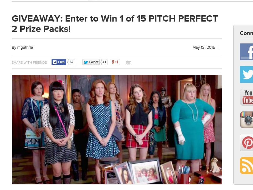 """The AMC """"PITCH PERFECT 2"""" Giveaway Sweepstakes"""