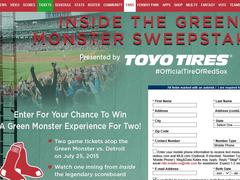 Toyo Tires Inside the Green Monster Sweepstakes