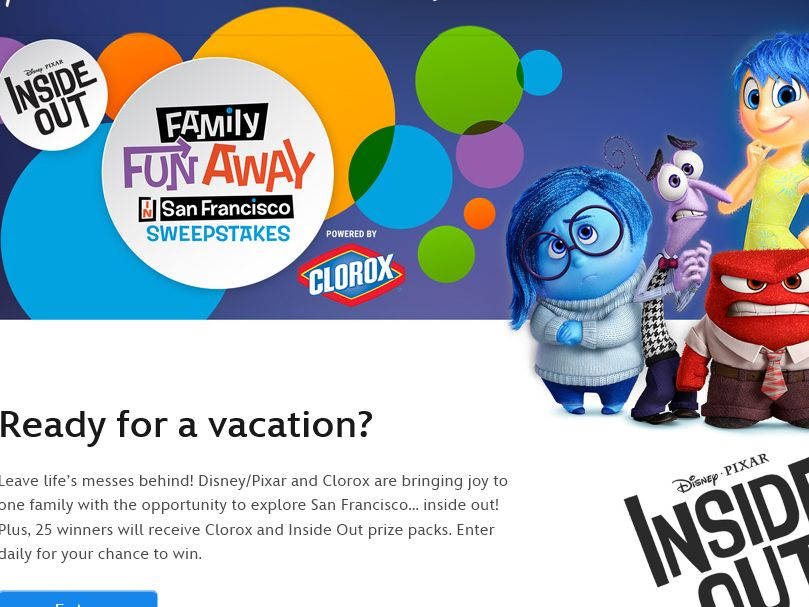 Disney's Inside Out Family Fun Away in San Francisco Sweepstakes