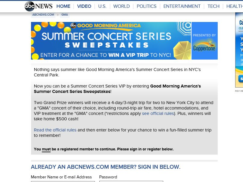 The Good Morning America Summer Concert Series Sweepstakes